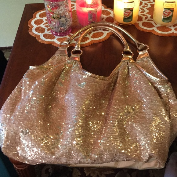 8609391f39 Joan Boyce Handbags - JOAN BOYCE Rose Gold Sequin Hobo HUGE!